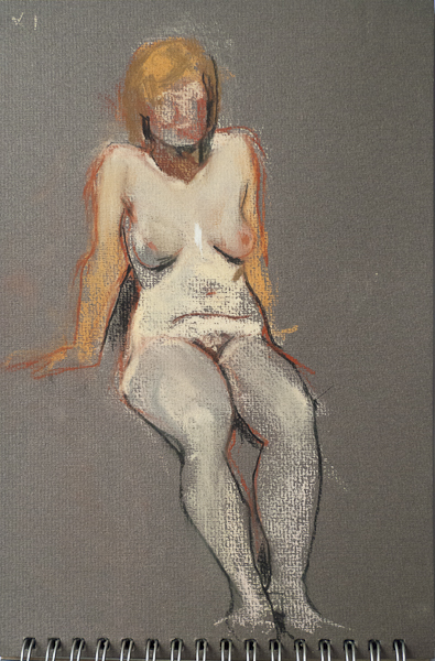 Life model     Ailbhe in a seated pose.  Nude